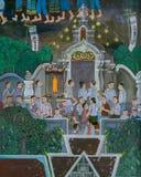 Pittura murala di stile tailandese antico di Lanna del festival buddista immagine stock