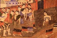 Pittura murala famosa e classica a Nan, Tailandia Immagine Stock