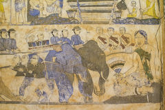 Pittura murala tailandese antica di Isan Fotografia Stock Libera da Diritti