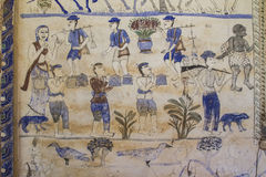 Pittura murala tailandese antica di Isan Immagini Stock Libere da Diritti