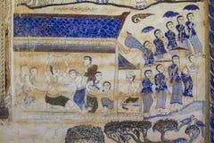 Pittura murala tailandese antica di Isan Fotografie Stock