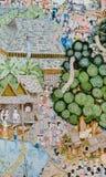 Pittura murala tailandese di Lanna della vita della gente tailandese nel passato su tem Fotografia Stock