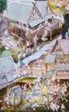 Pittura murala tailandese di Lanna della vita della gente tailandese nel passato su tem Immagine Stock
