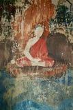 Pittura murale antica a Wat Ubosottharom, provincia di Uthai Thani, Th fotografia stock libera da diritti