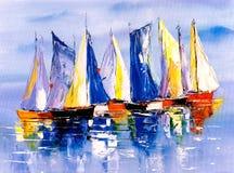 Pittura a olio - barca illustrazione di stock