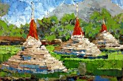 Pittura a olio bianca antica di emozione di espressione della pagoda fotografia stock libera da diritti