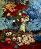 Pittura a olio bianca del girasole del garofano rosso royalty illustrazione gratis