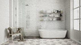 Pittura a olio che mostra vecchio bagno d'annata con la vasca e lo showe illustrazione vettoriale