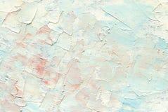 Pittura a olio con i grandi colpi della spazzola, colori di alba, tonalità di bianco, di blu-chiaro e di rosa Fotografie Stock