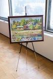 Pittura a olio da un autore sconosciuto con il paesaggio del paese Immagine Stock Libera da Diritti