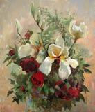 Pittura a olio dei fiori illustrazione di stock
