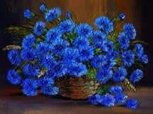 Pittura a olio dei fiori blu in un vaso, opera d'arte Immagine Stock