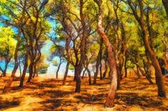 Pittura a olio dei terreni boscosi del sud un giorno di estate Immagine Stock