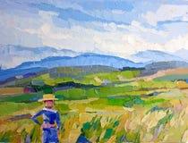Pittura a olio dell'agricoltore del giacimento del riso dei grani dell'orso royalty illustrazione gratis