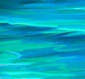 Pittura a olio dell'onda del turchese del mare su tela Fotografia Stock