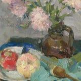 Pittura a olio della natura morta con i fiori e la frutta Immagini Stock Libere da Diritti