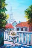Pittura a olio della torre Eiffel, Francia royalty illustrazione gratis