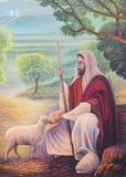 Pittura a olio di Gesù come il buon pastore Immagine Stock