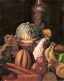 Pittura a olio di natura morta di varie frutta e verdure Immagine Stock