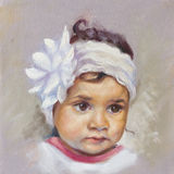 Pittura a olio di un bambino Fotografia Stock