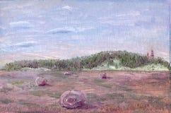 Pittura a olio di un campo Immagini Stock Libere da Diritti