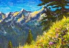 Pittura a olio fatta a mano originale, bei fiori su una radura della montagna su tela Montagne e cielo blu soleggiati Artwo del m illustrazione di stock