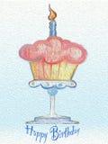 Pittura a olio felice di celebrazione del bigné del biglietto di auguri per il compleanno Fotografia Stock