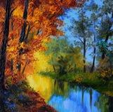 Pittura a olio - foresta di autunno con un fiume e ponte sopra il fiume Fotografia Stock