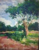 Pittura a olio gigante dell'acrilico di impressionismo dell'albero dell'isolato illustrazione vettoriale