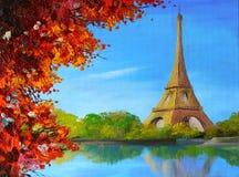 Pittura a olio - lago vicino alla torre Eiffel illustrazione vettoriale