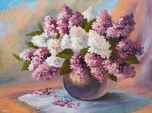 Pittura a olio - mazzo del lillà Immagini Stock Libere da Diritti