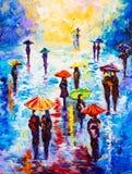 Pittura a olio - notte piovosa variopinta Immagine Stock Libera da Diritti