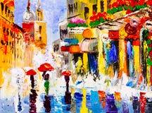 Pittura a olio - notte piovosa variopinta Fotografia Stock