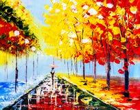 Pittura a olio - notte piovosa variopinta Immagini Stock Libere da Diritti