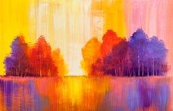 Pittura a olio originale del paesaggio di autunno royalty illustrazione gratis