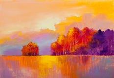 Pittura a olio originale del paesaggio di autunno illustrazione di stock