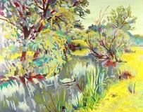 Pittura a olio originale del paesaggio di estate Fotografia Stock