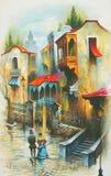 Pittura a olio originale Grecia Immagine Stock