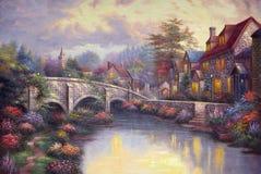 Pittura a olio originale il ponte Fotografie Stock Libere da Diritti