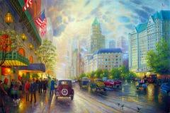 Pittura a olio originale New York Immagine Stock