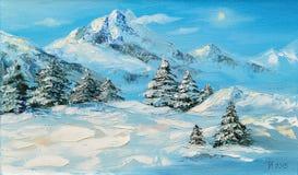 Pittura a olio originale, paesaggio della montagna di inverno con l'abete rosso fotografia stock libera da diritti