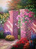 Pittura a olio originale Rose Garden Immagine Stock