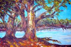 Pittura a olio originale su tela di canapa per il giclee Fotografie Stock Libere da Diritti
