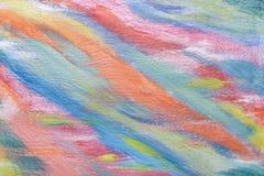 Pittura a olio originale su tela di canapa Priorità bassa di arte astratta Colori freddi Struttura blu, rossa, arancio, verde un  Fotografia Stock Libera da Diritti