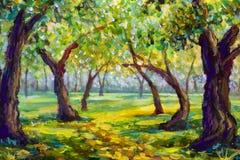 Pittura a olio originale sul materiale illustrativo moderno del parco della tela del paesaggio soleggiato di legno della strada fotografie stock libere da diritti
