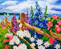 Pittura a olio - paesaggio Fotografie Stock