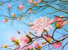Pittura a olio - ramo di sakura sul fondo del cielo, disegno dell'estratto del Giappone Fotografia Stock