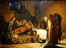 Pittura a olio russa classica: cena segreta immagini stock