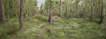 Pittura a olio della foresta Immagini Stock Libere da Diritti