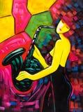 Pittura a olio - signora appassionata illustrazione di stock
